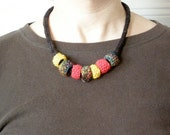 Knitted Necklace with Beads