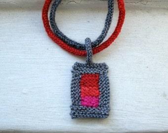 Modern Geometry Pendant - Knit Necklace