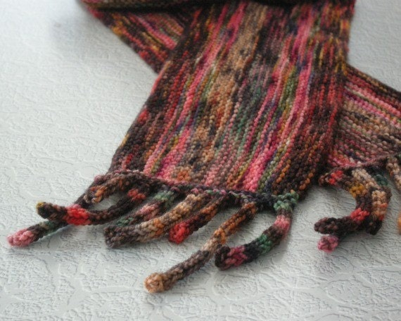 Scarf with Stripes and Fringe