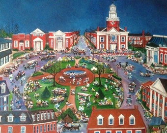 Delaware Art by N Taylor Collins Return Day - Limited Edition Print featuring The Circle in Georgetown Delaware concluding Election