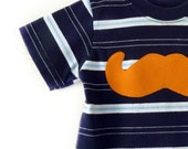 Baby Mustache Tshirt  12m 1y Upcycled by TrashN2Tees