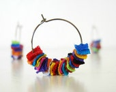 Rainbow Earrings Repurposed Tshirt by TrashN2Tees