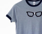 Wayfarer Nerd Tshirt Buddy Holly Womans Tshirt Blue Ringer Size Small Geekery by TrashN2Tees