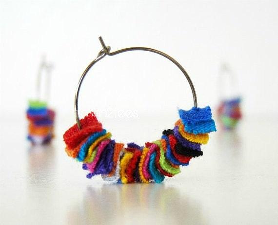 Rainbow Earrings Repurposed Tshirt by TrashN2Tees