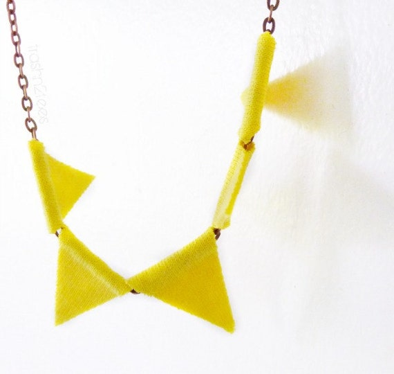 Yellow Pennant Bunting Necklace Geometric Upcycled Tshirt by TrashN2Tees