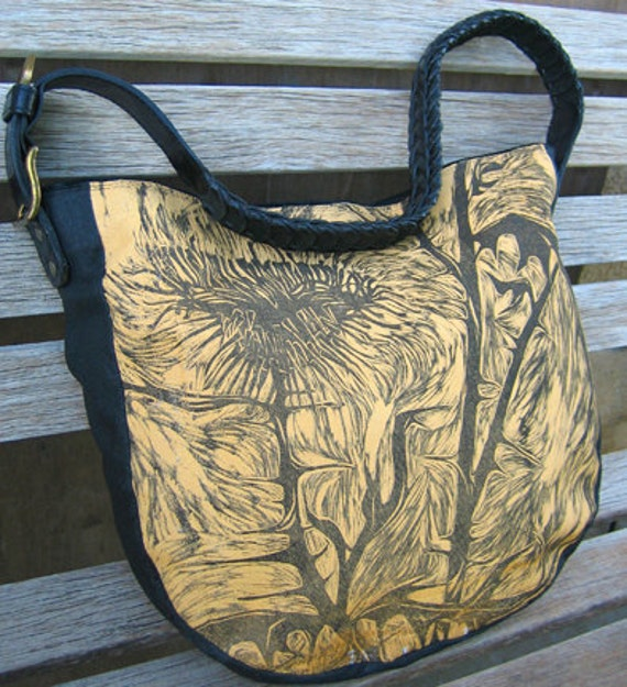 Repurposed Leather Bag with Thistle Woodcut in Mustard and Black