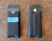 Leather iPhone Wallet - Black & Tan
