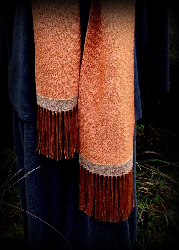 Wearable Art, Handwoven Scarf, Ooak, Rayon, Copper, Ready to Ship, FishBaySunsets, Layaway Plan, Free US Shipping