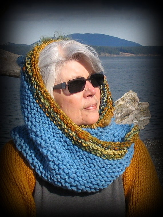 Wearable Art, Snood, Cowl, Hood, Hat, Oversized, Blue, Inspired by Nature, FishBaySunsets, Layaway Plan, Free US Shipping