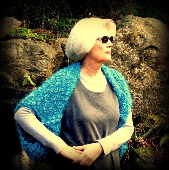 REDUCED!  Shrug, Sweater, Jacket, Vest, Handknit, Plus Size, Turquoise, Teal Blue, FishBaySunsets