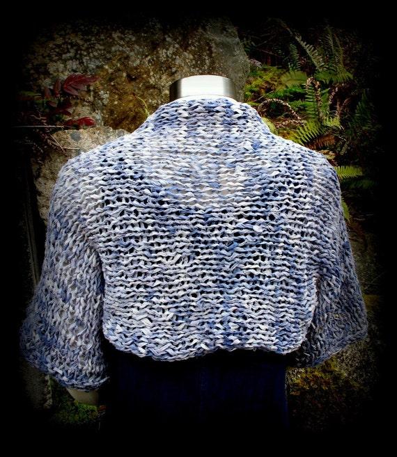 Summer Shrug, Sweater, Jacket, Coverup, Handknit, Primitive, Muslin Rag, Denim Blue, White, FishBaySunsets