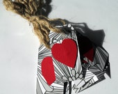Black and White Tags with Red Hearts and Natural Twine Ties