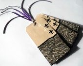 Black and White Fluer de Lil Gift Tags with Black Lace - Purple Ties