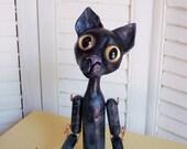 Black Cat Leon - JDConwell Folk Art Doll