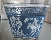 Glass Ice Bucket, Snack Bowl, Vintage Home Decor, Barware, Blue and White Hunting Design, Horses, Hunters, Grecian Design