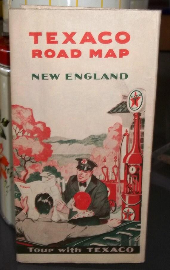Vintage Texaco Road Map of New England