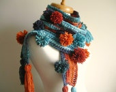 Long  Lariat Scarf , Fashion,  under 50 , With pompoms and  Fringes, Blue, Brown and Orange,  Ready to Ship, EXPRESS Shipping, New Season