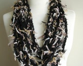 Fiberart Crochet Necklace Scarf , Fashion, Under 25,   Black and Beige, Express shipping,  Unique Design,OOAK,Crochet  Bib, Scarf