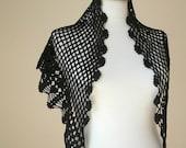 EXPRESS Shipping, New Season... Triangle Little Black Shawl By Crochetlab,