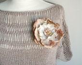 Beige Blouse Top,Handknitted Unique Design