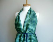 Navy and Green Vest with Hearts, Summer collection, Crocheted back