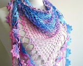 Summer Scarf, Fashionable Scarf, Merserized Triangle  Lilac and Blue Scarf  By Crochetlab,