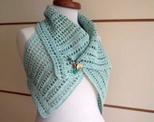 Two in one Asymmetric Vest By Crochetlab, With special Design Brooch, Summer, Ready to Ship, Light mint green