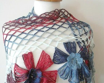 Triangle Shawl By Crochetlab,  Multicolor,  Big  Flowers,  Perfect for all Seasons, Grey, White and Red