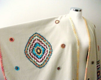 Beige Poncho, Handcrocheted Pieces Appliqued on Beige ( ivory) Fleece Cloth, Free Size