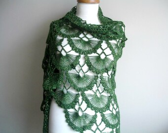 Green Shawl, St. Patricks Day Special,  Spring Fashion, Mothers Day  Gift  gift for mom Triangle Shawl,  Ready To Ship, Gift for Her