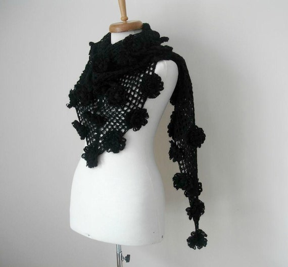 Black Shawl, Mothers Day Gift, With Big Black Flowers, Triangle Shawl By Crochetlab, Mohair, Winter Fashion, winter Fashion