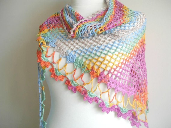 Four Season Scarf for Mothers Day, Multicolor Merserized Triangle  Scarf  By Crochetlab, Gift for Mom