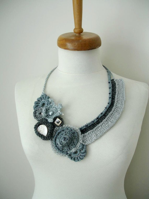 """Fiberart Crochet Necklace, """"Two  ways to the mountain"""",  Freeform crochet necklace By CrochetLab, wearableart"""