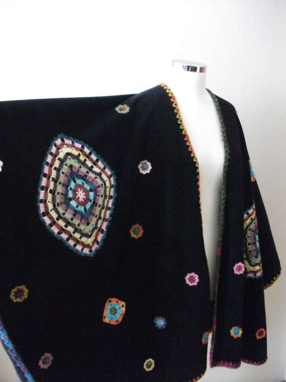 Black Poncho, Hand-crocheted Pieces Appliqued on Fleece Cloth, Free Size