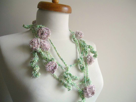 Spring Blossom,  Long Lariat Scarf With Blossoms, Green and pink in pastel tones,Ready to Ship