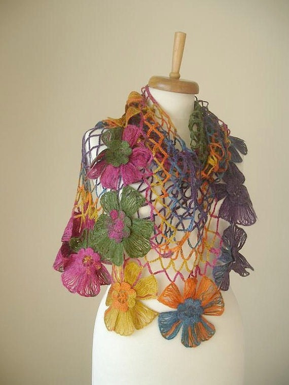 Triangle Shawl By Crochetlab, Multicolor,  Big  Flowers,  Perfect for all Seasons, mustard, green, pink