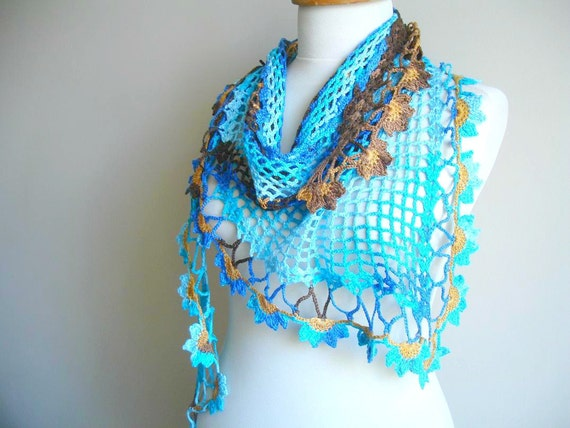 Blue Scarf , Spring  Fashion,  Merserized Triangle  Blue Brown  Scarf  By Crochetlab, Gift for Mom,  Mothers Day Gift
