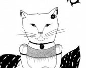 The Debutante - 8 x 10 Black and White Cat Art Print