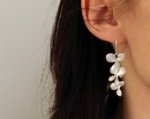 Silver Orchid Earrings Cascade of Flowers White Gold and Sterling Silver - As Seen in ETSY WEDDINGS,Trio,Triple,Drops,Three,Hydrangea