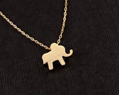 Little Gold Elephant Charm Necklace  - STRENGTH and Luck  - Lucky Golden Elephant Jewelry - Beautiful, Symbolic, Gift
