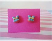 SALE - Little Bunny Post Earrings Blue and Pink with Yellow Bow