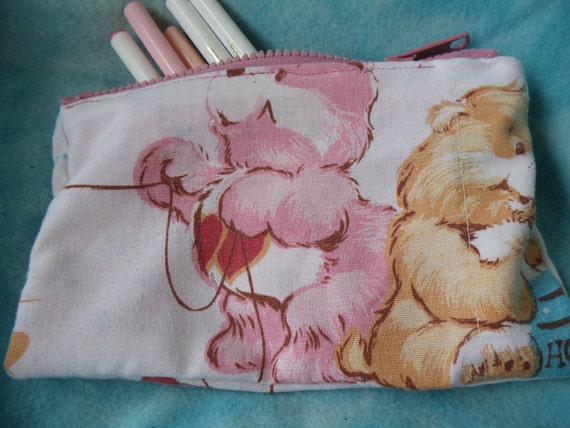 Care Bears pink and orange upcycled vintage style zipper pouch with a clover for luck