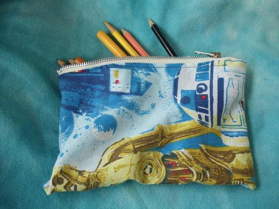 star wars upcycled make up or pencil bag vintage style featuring r2d2 and c3po