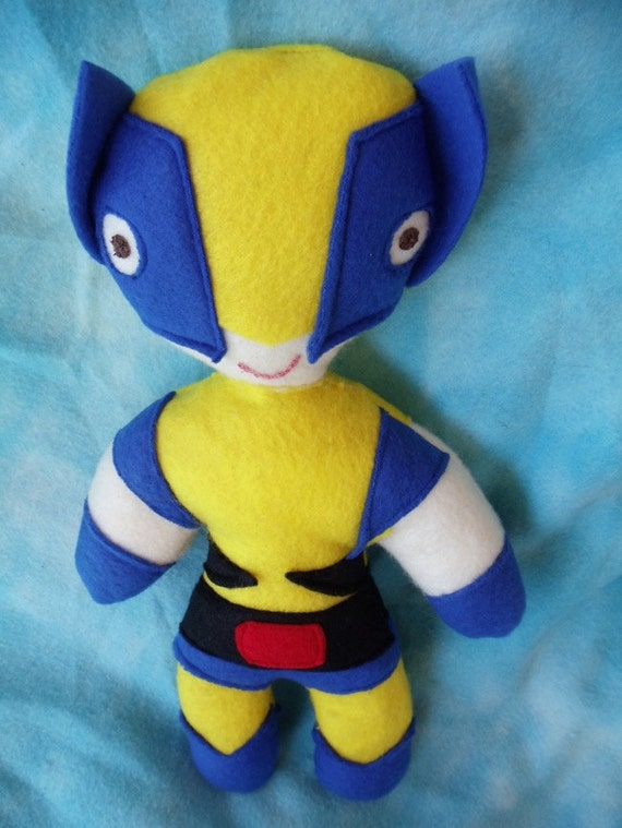 Wolverine from X men soft cuddly stuffed action figure doll Marvel super hero a little boys and girls toy