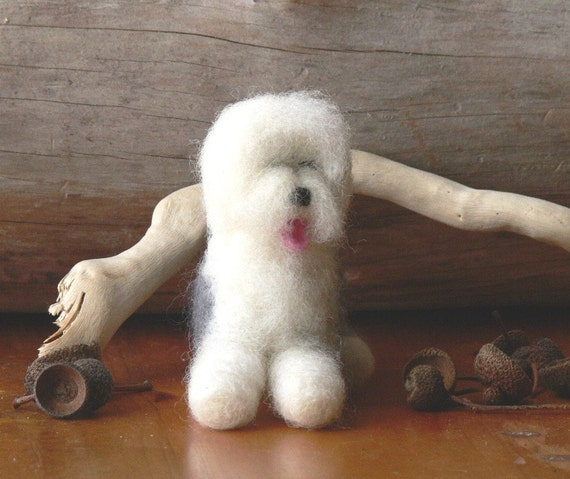 "Needle Felted Old English Sheepdog ""Show stopper"" edition"