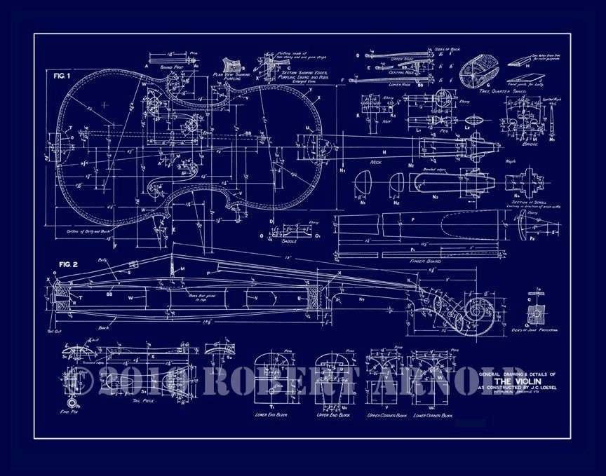 Blueprint of a 19th c violin maker 39 s plans 11 x Free online blueprint maker