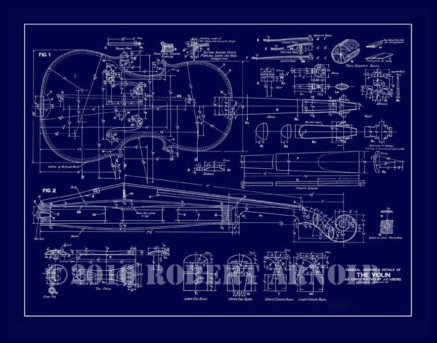 Blueprint of a 19th c violin maker 39 s plans 11 x Blueprints maker online free