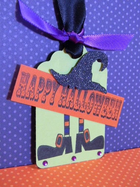 3 Halloween Tags Witch in Cute Gift Packaging