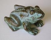 Vintage Cast Metal Frog Paperweight