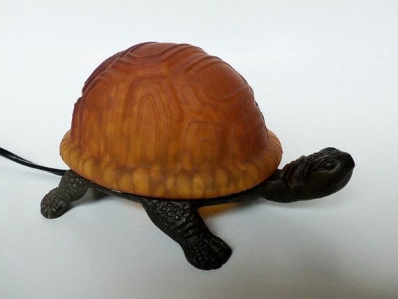 Vintage Turtle Night Light Amber Glass Accent By Meerkatsmanor